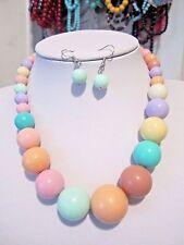 Multi Color Lucite bead Gradual necklace Earring Set