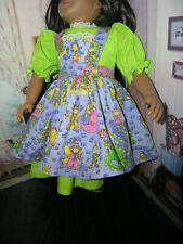 """Green Dress Fairy tale Print Apron 2 piece Dress 23"""" Doll clothes fits My Twinn"""