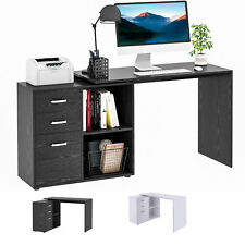 L-Shaped Straight Writing Desk w/ Storage Home Office Computer Table