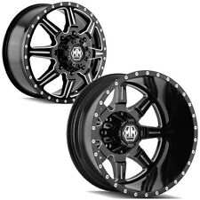 "Set of 6-Mayhem Monstir Dually 19.5"" 8x6.5"" Black Wheels Rims-Lugs INCLUDED"