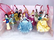 Disney Deluxe Princess Christmas Ornaments Figures 10pc Set Jasmine Tiana Belle