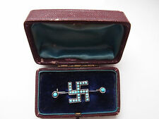 BOXED c1910 800 SILVER TURQUOISE STONE LUCKY GOOD LUCK GAMMADION Cross BROOCH