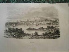 gravure Amérique  an 1850 Halifax Nouvelle Ecosse Canada