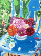 "NEW ORIGINAL PETE DAVIES ""Dahlias in Summer""  flower OIL CANVAS PAINTING"