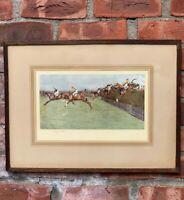 British Sporting Artist Cecil Aldin Signed Print. Grand National Horse Race 1920