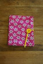 Handmade fabric tea bag holder wallet pink with white daisies yellow spot