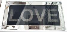 Diamond Crush Silver Black Mirrored Love Plaque