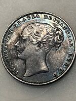 1862 AU Silver Shilling-Key Date-Great Britain- Uncleaned - Vibrant Blue Toning
