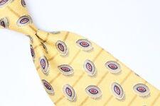 Robert Talbott Silk Neck Tie Yellow Beige Brown Red Blue Oval Stripe Print USA