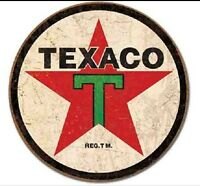 "TEXACO METAL TIN SIGN 12"" ROUND MOTOR OIL GAS STATION Retro VINTAGE Look New"