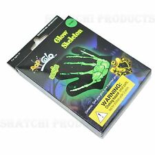 1 X GLOW IN THE DARK NEON SKELETON Glove Guanto Halloween Fancy Dress Accessori