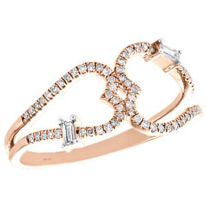 14K Rose Gold Baguette Diamond Double Heart Ring 9.50mm Cocktail Band 1/5 CT