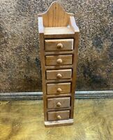 Vintage Kitchen 6 Drawer SPICE CABINET ~ Oak  Wall Mount
