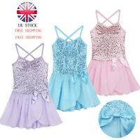 UK Girls Sequined Ballet Dress Gymnastics Skating Dance Leotards Skirt Dancewear