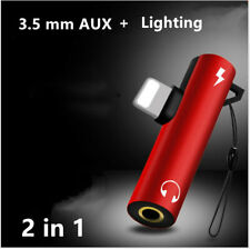 Dual 2in1 Aux Audio Lightning Charger Headphone Splitter Adapter iPhone 7 8 X XR