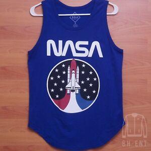 Mens NASA Tank Top T-shirt Agency Logo Graphic Tee Red White Large
