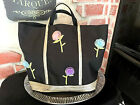 Vintage 90's Glam TIMMY WOODS Black Nylon Canvas TOTE Bag Tulle Flowers