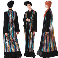 Women Muslim Abaya Open Cardigan Sequins Maxi Dress Kaftan Islamic Robe Jilbab