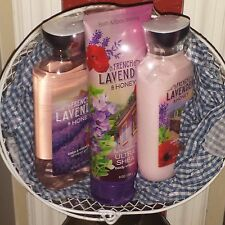 BATH AND & BODY WORKS FRENCH LAVENDER & HONEY 3 items women's gift basket