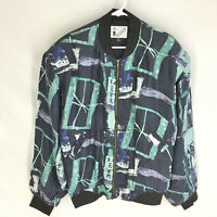 Goouch Bomber Jacket Size L 90's Abstract Print Full Zip Vintage VTG NEW