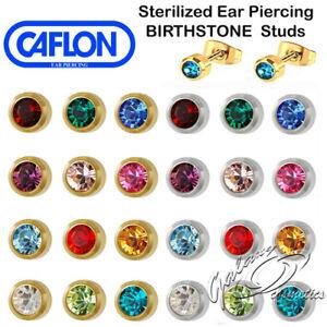 Caflon Sterilized Ear Piercing Studs BIRTHSTONE Earrings Made in UK