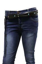 Women Fashion Black Tie Western Belt Faux Leather Turquoise Blue Beads M L XL