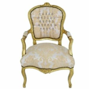 CHAIRS FRANCE BAROQUE STYLE LADY CHAIR WITH ARMRESTS GOLD / GOLD CREAM #55F3