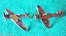 New WW2 WWII RAF Spitfire & Hurricane Military Aircraft Metal Enamel Badges Pair