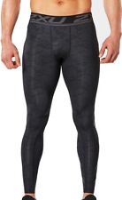 2XU Accelerate Print Mens Compression Tights Black Gym Running Sports Training