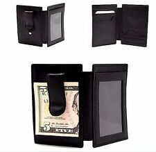 Black Bi-fold Money Clipper Wallet Calf Leather Front Pocket ID Card Holder JTC
