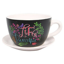 Inspirational Life Ceramic Flower Herb Cup & Saucer Pot Plant Planter - 13cm
