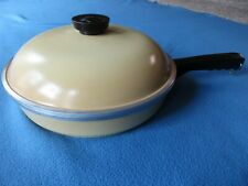 """Club Aluminum Vintage 10"""" Harvest Gold / Yellow Skillet  With Cover - Very Nice"""
