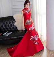 Cheongsam QiPao Chinese Women Wedding Dress Embroidery Evening Party Long Dress