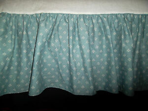Laura Ashley King Bed Skirt Blue White Flowers Floral 13'' Drop Closed Corners