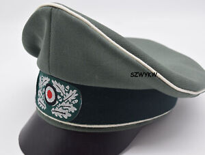 WWII WW2 German Whipcord Marshals Generals Officers Crusher Visor Hat Cap 59cm