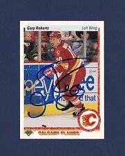 Gary Roberts signed Calgary Flames 1990-91 Upper Deck hockey card