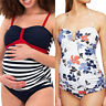2PCS Women Pregnancy Maternity Tankini Print Bikini Swimsuit Beach Swimwear Suit