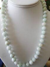 Vintage Natural  Jade Jadeite Bead Necklace with  Silver Clasp