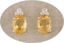 18 KT GOLD OVER STERLING SILVER CITRINE & DIAMOND EARRINGS