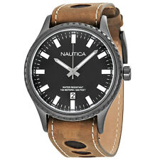 Nautica NMS 02 Black Dial Mens Leather Watch NAD16000G