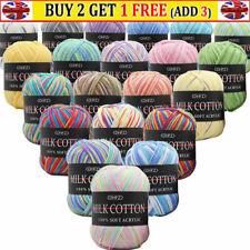 Mixed Job Lot 23 Colours DK Knitting Crochet Milk Soft Baby Cotton Wool Yarn