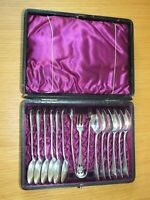 Vintage EPNS Silver Set of 12 Apostle Spoons Sugar tongs Fork silk lined in box