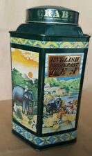 """Crabtree & Evelyn London 1983 date tea tin, Asian landscapes, green, 6 3/4"""" tall"""