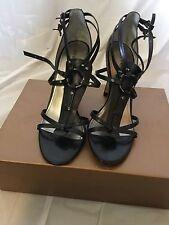 AUDREY BROOKE Abserena Black Ankle Strap Women's Stiletto Sandal Shoe (7.5)