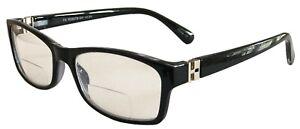 New Bifocal Glasses Black Unisex Frames Quality Readers Sprung Hinges BDF23