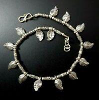 Sterling Silver 925 Ankle Bracelet Vintage Leaf Charms Thick