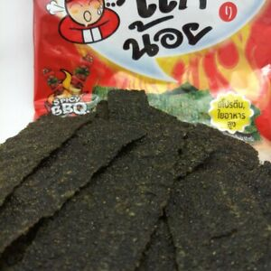 Thai Grilled Seaweed Crispy Snack Spicy BBQ Flavor Tao Kae Noi Travel Camping