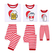 Christmas Pajamas Set for Family Matching Striped Tops Pants Sleepwear Homewear