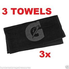 3 BLACK Gatorade Sports Towel Baseball Basketball Football Gym Golf Tone on Tone