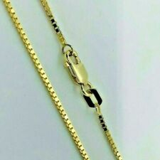"""14K Solid Yellow Gold Box Chain Necklace Men's Women's 1.5mm Length 18"""" to 30"""""""